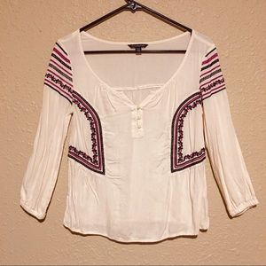 American Eagle Embroidered Boho Blouse